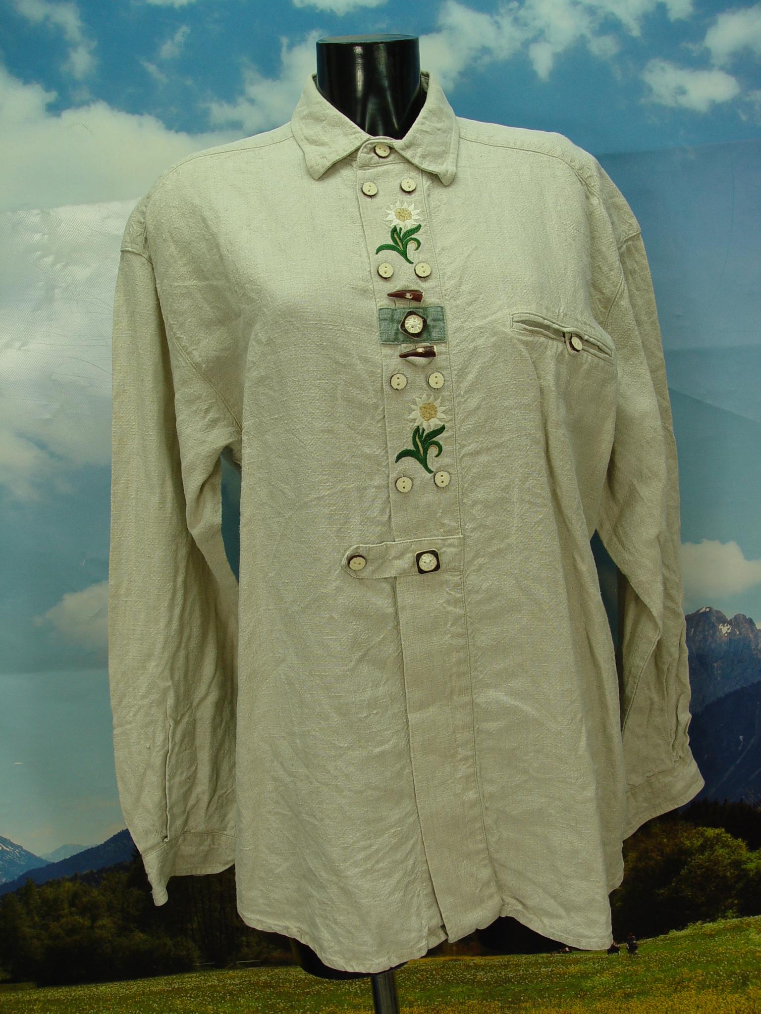 German Wear Trachtenhemd Karo mit Edelwei/ß-Stickerei aus Baumwolle