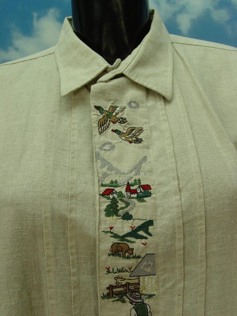 Gr.XL AS MÜNCHEN mit Trachten Stickerei weißes Baumwolle Trachtenhemd Hemd TH443
