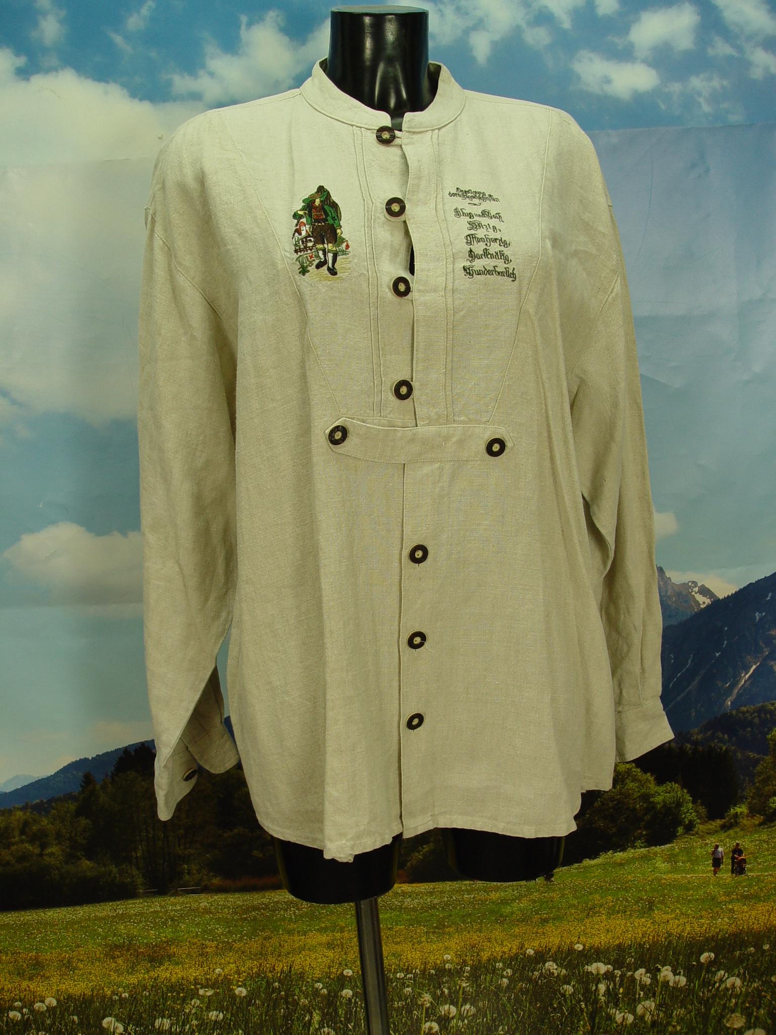 Gr.L Trachtenhemd Solo Trachten Hemd mit Wandersmann
